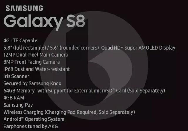 Principales características técnicas del Samsung Galaxy S8