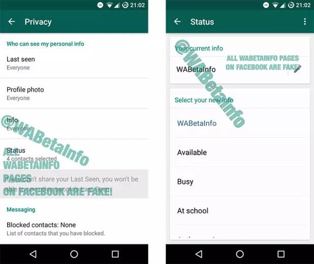 Antiguos estados de WhatsApp en Android