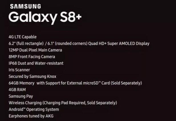 características completas del Samsung Galaxy s8+