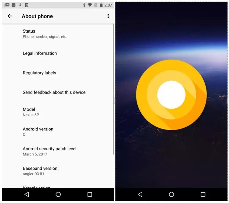 Interfaz de Android O