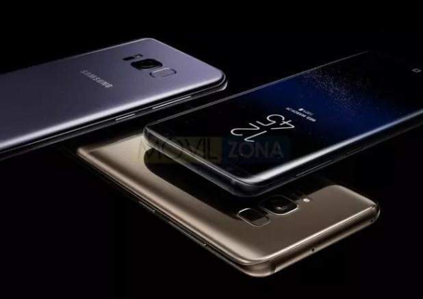 Samsung Galaxy S8 dorado, negro y violeta