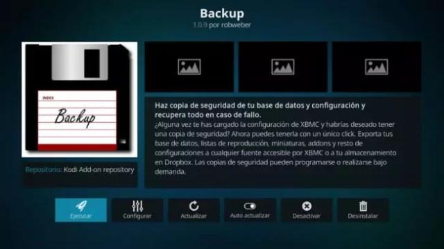 Backup configuración Kodi Android