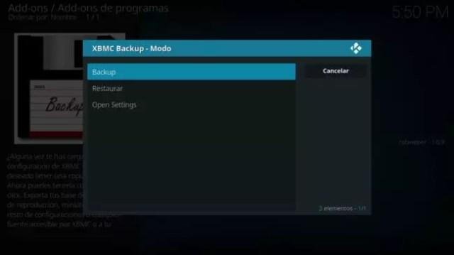 Backup o restaurar configuracion Kodi Android