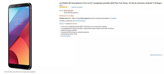 Precio del LG G6 en Amazon