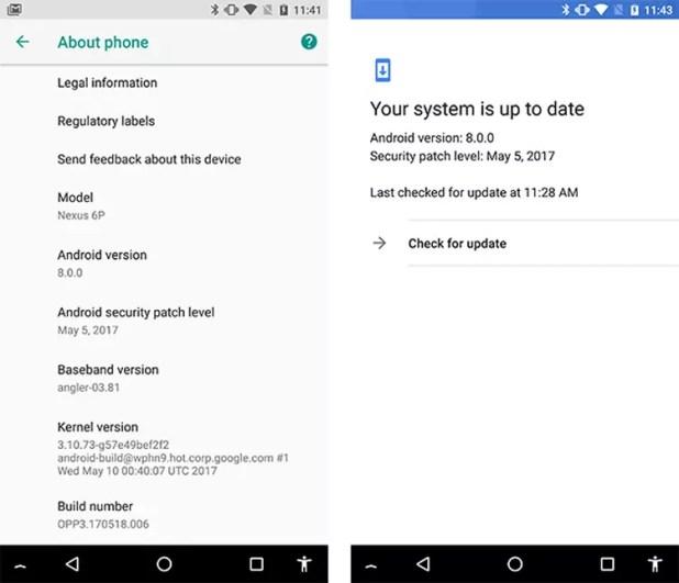 Información sobre Android 8.0 Oreo