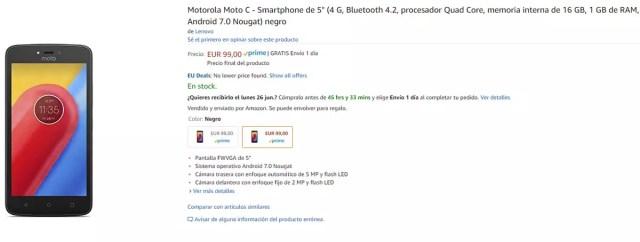 Precio del Moto C en Amazon
