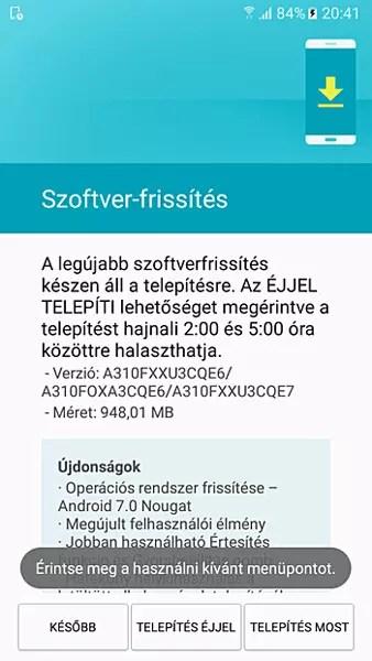 Captura con info sobre la actualización de los Samsung℗ Galaxy℗ A3 2016 con <stro data-recalc-dims=