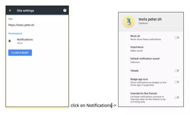 Nuevo canal de notificaciones de Android O aplicado en Chrome