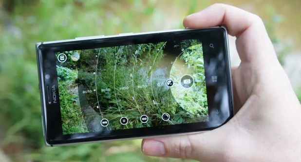 Interfaz de la cámara de un Nokia Lumia con Windows Phone
