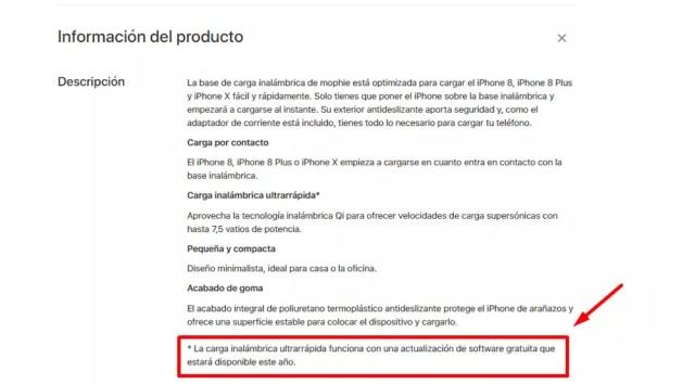 Advertencia de Apple sobre la carga inalámbrica rápida del iPhone 8