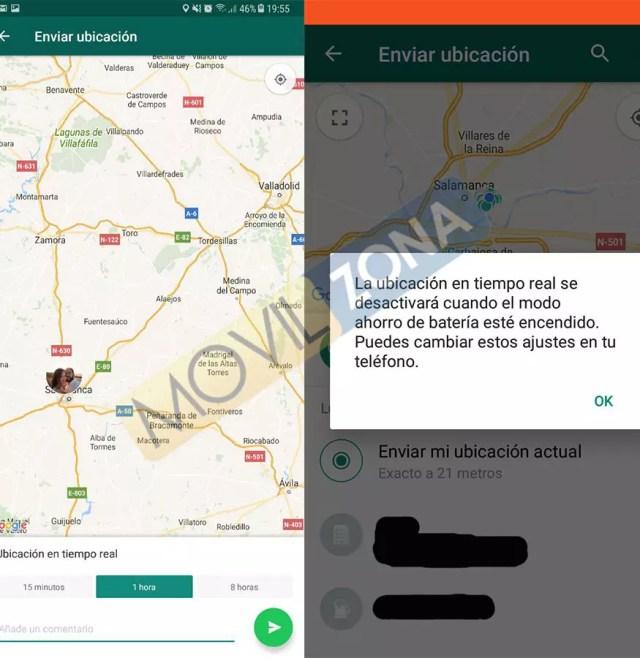 WhatsApp localización en tiempo real