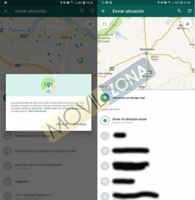 Función compartir posición en tiempo real de WhatsApp