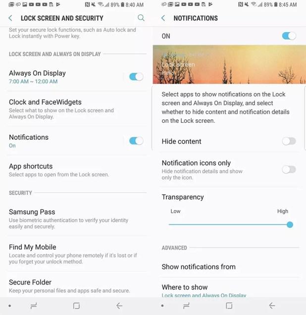 Apartado de ajustes de notificaciones en el Galaxy S8 con Android Oreo