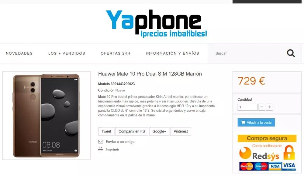 Página desde la que comprar el Huawei Mate diez Pro