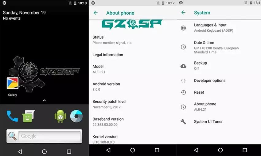 Interfaz que demuestra que es factible modificar el Huawei P8 Lite con Android® Oreo