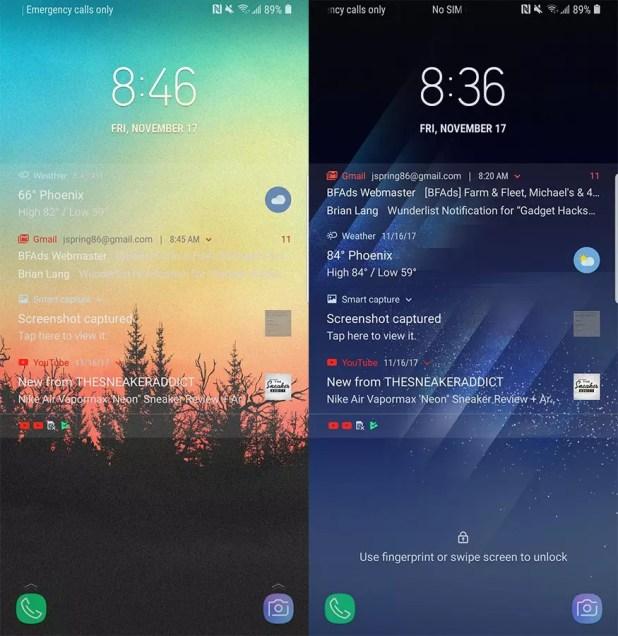 Notificaciones transparentes en la pantalla de bloqueo de un Galaxy S8 con Android Oreo