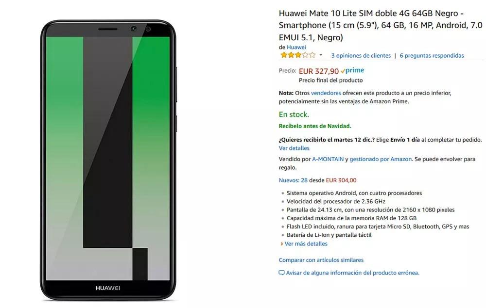 Precio del Huawei Mate diez Lite en Amazon