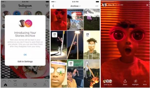 Sección archivo de Instagram Stories