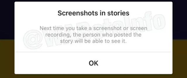 Notificación para advertir de la captura de pantalla a una Storie de Instagram