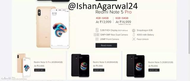 Precios del Xiaomi℗ Redmi Note 5 Pro a través del distribuidor Flipkart