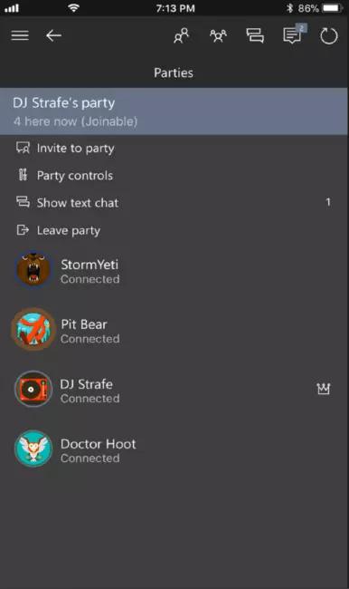 xbox aplicación party chat