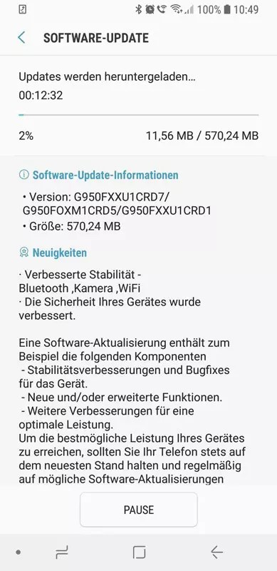 Referencia de la actualización OTA para el Samsung℗ Galaxy℗ S8 con el parche(actualizar) de seguridad de abril de 2018