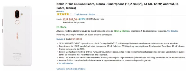 Precio del Nokia℗ 7 Plus en Amazon