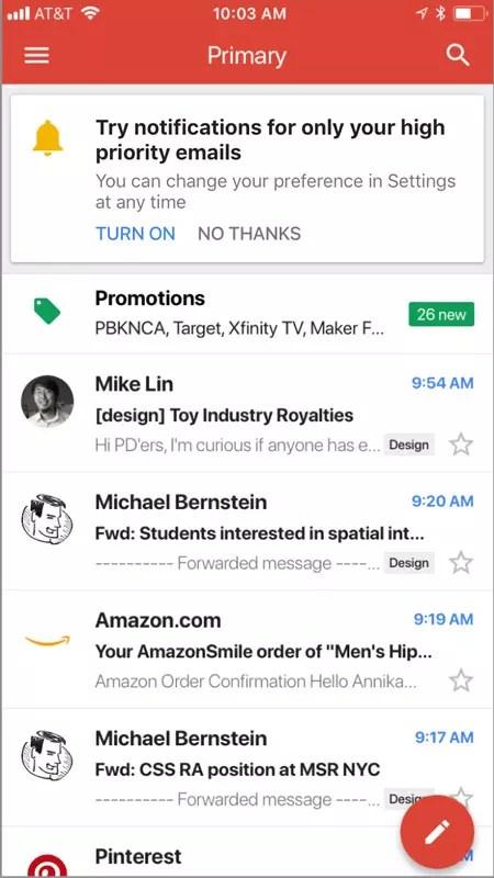 Notificaciones de alta prioridad en Gmail para iOS