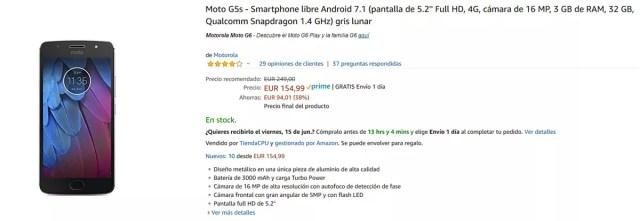 Oferta del Motorola℗ Moto G5s en Amazon