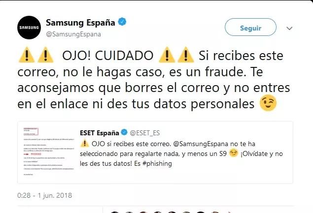 Samsung Galaxy℗ S9 de obsequio - estafa