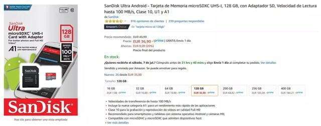 Micro SD de 128 GB de SanDisk