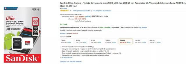 Precio de micro SD SanDisk℗ de 200 GB con las ofertas pre Amazon℗ Prime Day 2018