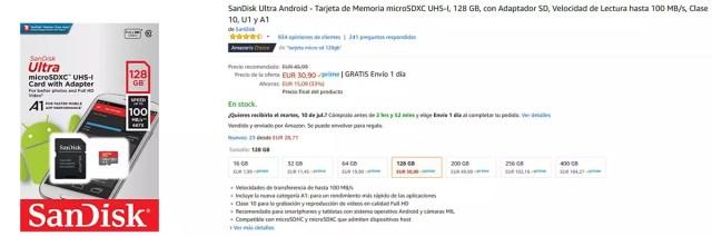Precio de micro SD de 128 GB con las ofertas pre Amazon℗ Prime Day 2018