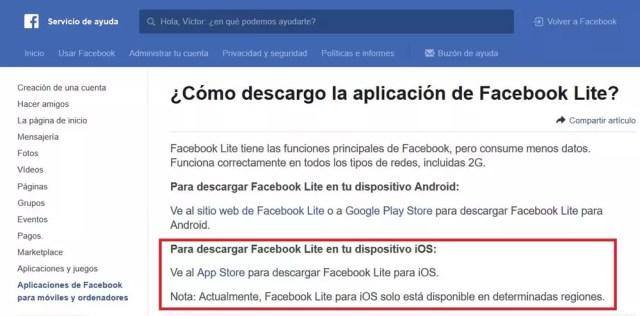 Información sobre la aplicación Facebook℗ Lite para iPhone
