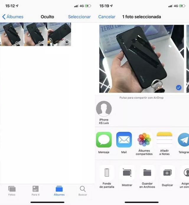 Mostrar fotografías ocultas iOS