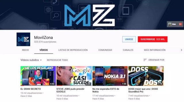MovilZona canal YouTube