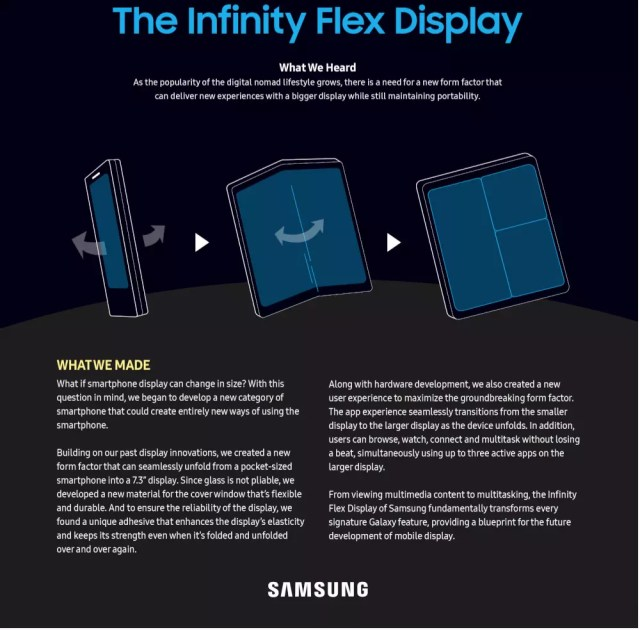 Detalles sobre el nuevo Infinty Flex Display