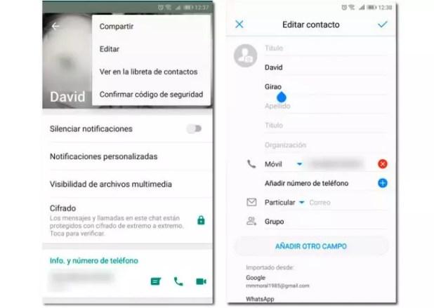 cambiar nombre contactos whatsapp