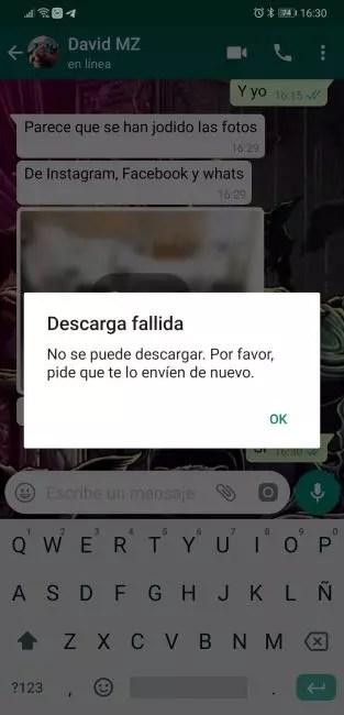 WhatsApp fallo