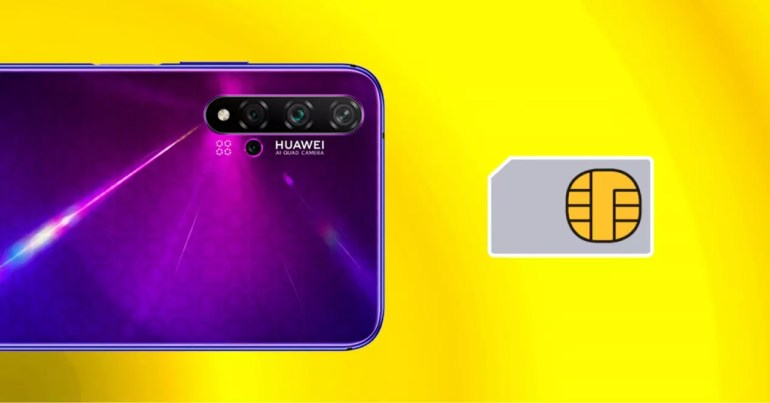 huawei and sim card with yellow background