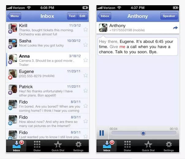 Interfaz de Google Voice para iPhone 5