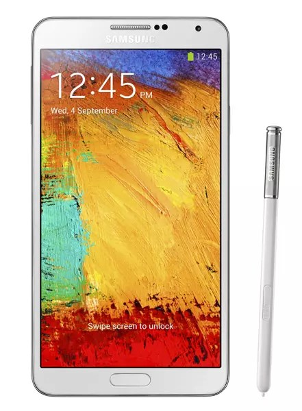 Samsung Galaxy Note tres en color blanco