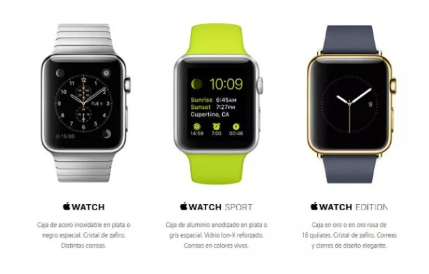 Versiones del Apple Watch