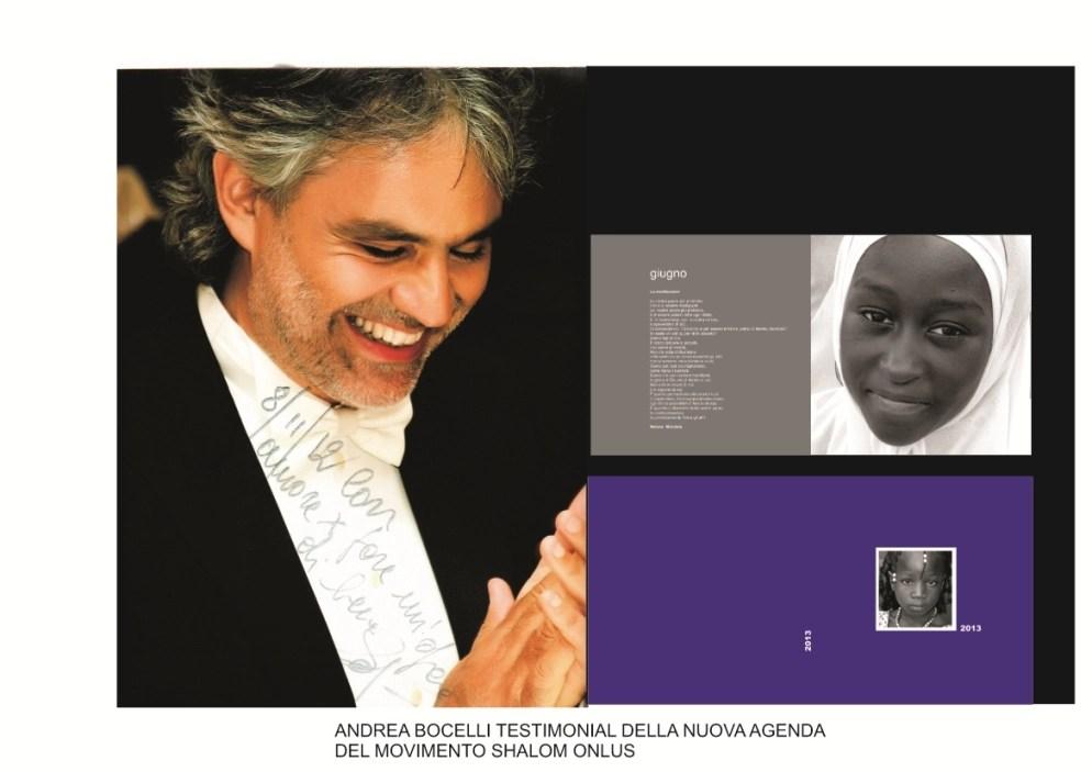 """Foto """"Agenda 2013 - Bocelli"""" dal sito del Movimento Shalom."""