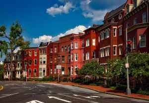 A row of brownstones with trees and bushes in front of them can be the right neighborhood for your new home.