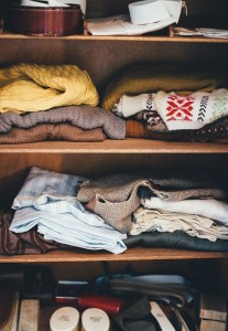 Wardrobe in closet.