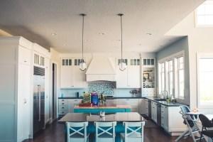 A blue kitchen.