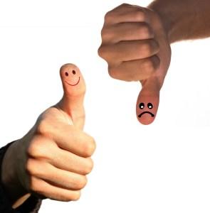 a thumb up and a thumb down