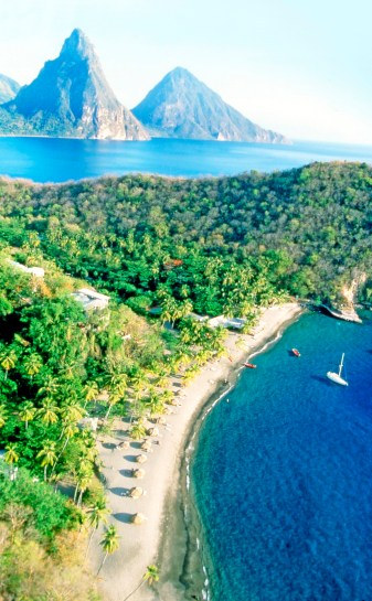 Aerial shot of Anse Chastanet