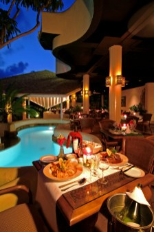 Dining poolside
